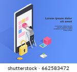 hacking smartphone user... | Shutterstock .eps vector #662583472
