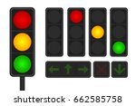 set of led traffic lights with... | Shutterstock .eps vector #662585758
