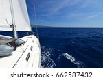 luxury yacht at sea race.... | Shutterstock . vector #662587432