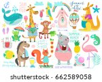 Stock vector animals hand drawn style summer set calligraphy and other elements vector illustration 662589058