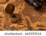 old vintage retro compass on... | Shutterstock . vector #662593516
