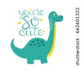 cute dino illustration. | Shutterstock .eps vector #662601322