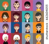 set of people avatars with faces | Shutterstock .eps vector #662604055