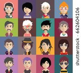set of people avatars with faces | Shutterstock .eps vector #662604106