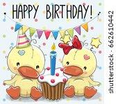 greeting card two cute cartoon... | Shutterstock . vector #662610442