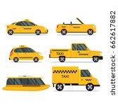 taxi service car set. different ... | Shutterstock . vector #662617882