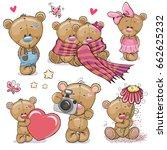 set of cute cartoon teddy bear... | Shutterstock . vector #662625232