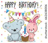 greeting birthday card with... | Shutterstock . vector #662638006