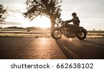 man riding sportster motorcycle ... | Shutterstock . vector #662638102