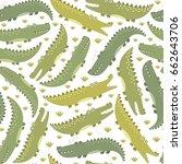 funny crocodiles seamless... | Shutterstock .eps vector #662643706