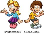 cartoon boy and girl sitting... | Shutterstock .eps vector #662662858