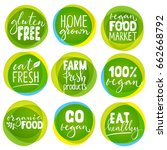 huge vector set of vegetarian... | Shutterstock .eps vector #662668792