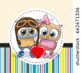 greeting card with two cute... | Shutterstock . vector #662671336