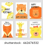 vector cards with cute... | Shutterstock .eps vector #662676532