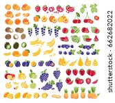 set of fresh fruits with slices.... | Shutterstock . vector #662682022
