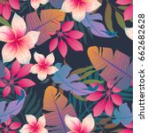 summer exotic floral tropical... | Shutterstock .eps vector #662682628