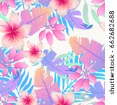 summer exotic floral tropical... | Shutterstock .eps vector #662682688