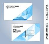 business card template. blue... | Shutterstock .eps vector #662686846