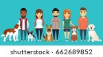 Stock vector young boys and girls with dogs a variety of breeds the dog beside its master in a flat style on 662689852