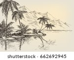 beach drawing  palm trees and... | Shutterstock .eps vector #662692945