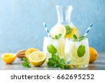 lemonade or mojito cocktail... | Shutterstock . vector #662695252