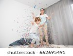 mother and son  celebrating... | Shutterstock . vector #662695495