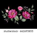 vector embroidery with flowers   Shutterstock .eps vector #662695855