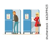 man and woman in voting booths... | Shutterstock .eps vector #662699425