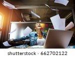 business woman enjoy her work. | Shutterstock . vector #662702122