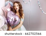 young woman with balloons... | Shutterstock . vector #662702566
