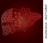 human liver zentangle | Shutterstock .eps vector #662712865