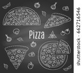 whole and slices pizza set ... | Shutterstock .eps vector #662716546