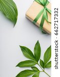 gift box with green ribbon and... | Shutterstock . vector #662717332