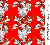seamless vintage pattern on red ... | Shutterstock .eps vector #662727112