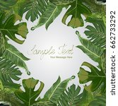 vector exotic leaves frame | Shutterstock .eps vector #662733292