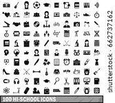 100 hi school icons set in... | Shutterstock . vector #662737162