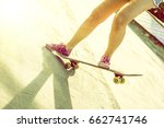 woman tanned legs of skating... | Shutterstock . vector #662741746
