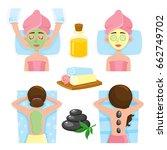 set of spa salon precedures and ... | Shutterstock .eps vector #662749702