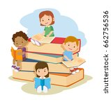 children learning and reading... | Shutterstock .eps vector #662756536