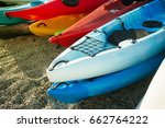 colorful of kayaks boat on the... | Shutterstock . vector #662764222