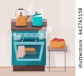 stove in kitchen. oven with... | Shutterstock .eps vector #662765158