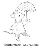 mouse in coat with umbrella....   Shutterstock .eps vector #662768602
