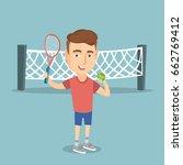 smiling caucasian sportsman... | Shutterstock .eps vector #662769412