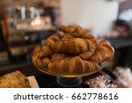 fresh croissants in the bakery. | Shutterstock . vector #662778616