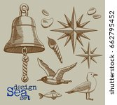 set of marine elements   the... | Shutterstock .eps vector #662795452