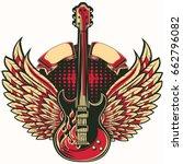 rock guitar winged emblem | Shutterstock .eps vector #662796082