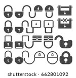 lock icon set  vector symbol in ... | Shutterstock .eps vector #662801092