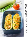 Stock photo healthy gluten free zucchini bake in a baking dish selective focus 662802502