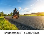 dark motorbiker riding high... | Shutterstock . vector #662804836
