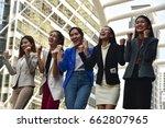 business woman celebrating in... | Shutterstock . vector #662807965